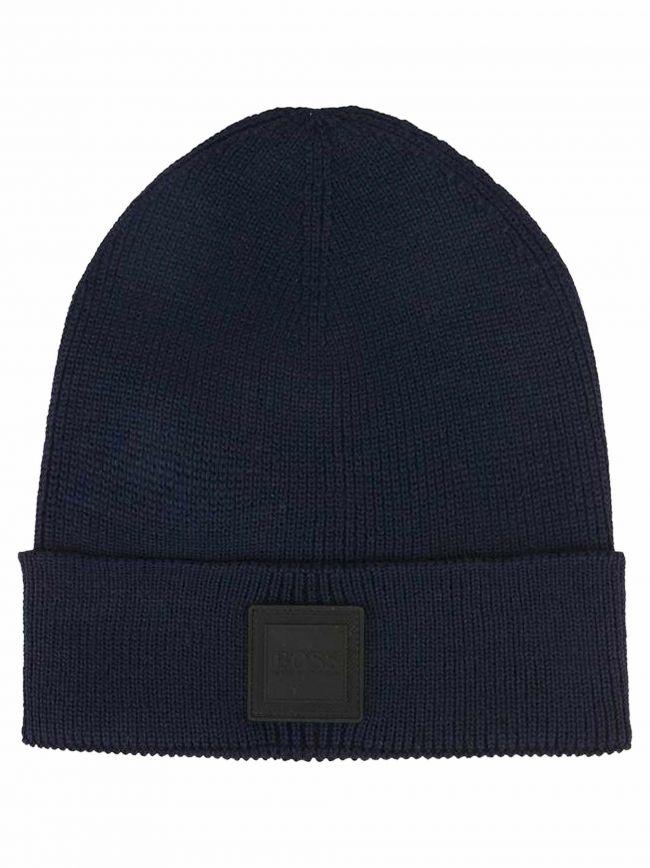 Navy Blue Wool Beanie Hat