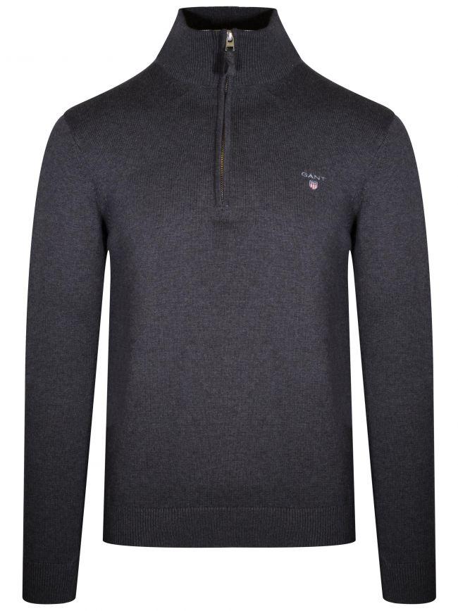 Anthracite Melange Half Zip Sweatshirt