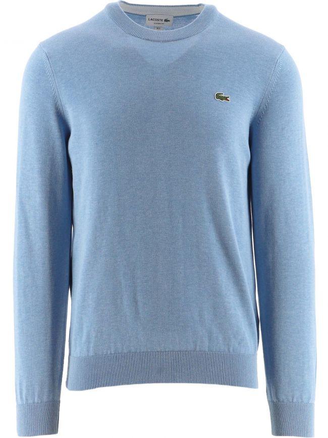 Blue Cotton Crew Neck Sweater