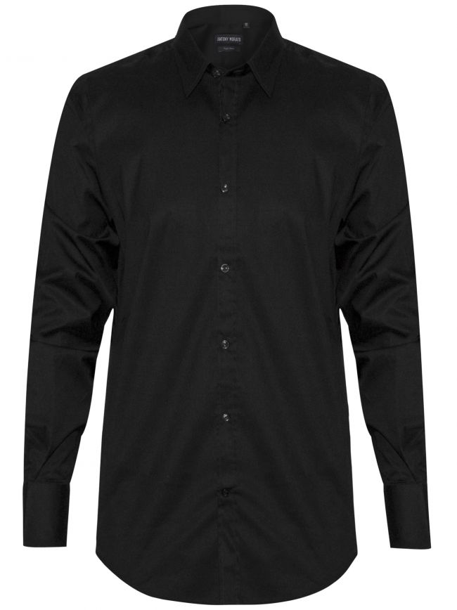 Plain Black 'Super Slim' Fit Shirt