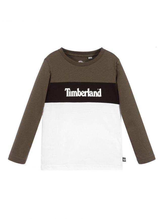 Khaki & White Block Colour Long Sleeved Logo T-Shirt