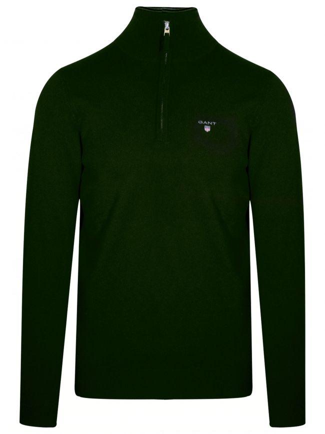 Super Fine Lambswool Half-Zip Tartan Green Sweatshirt
