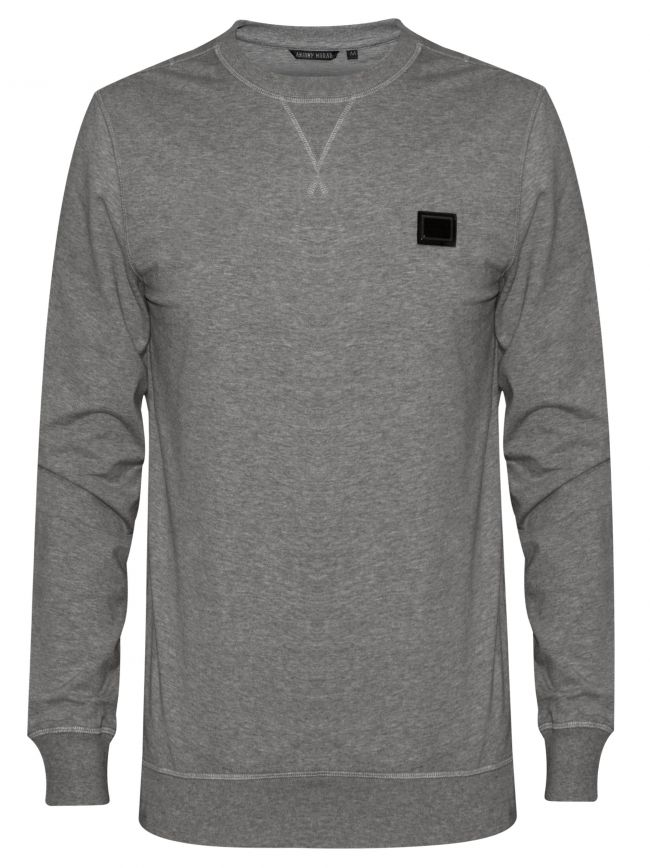 Grey Plaque Logo Crew Neck Sweatshirt