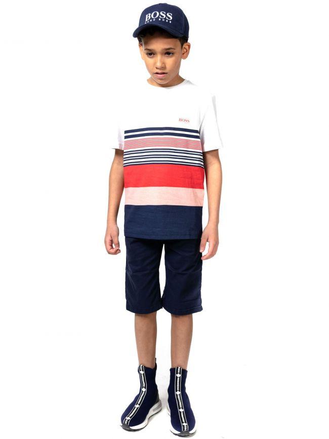 BOSS Kids White Striped T-Shirt