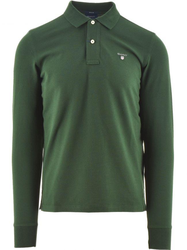 Green Classic Long Sleeve Polo Shirt