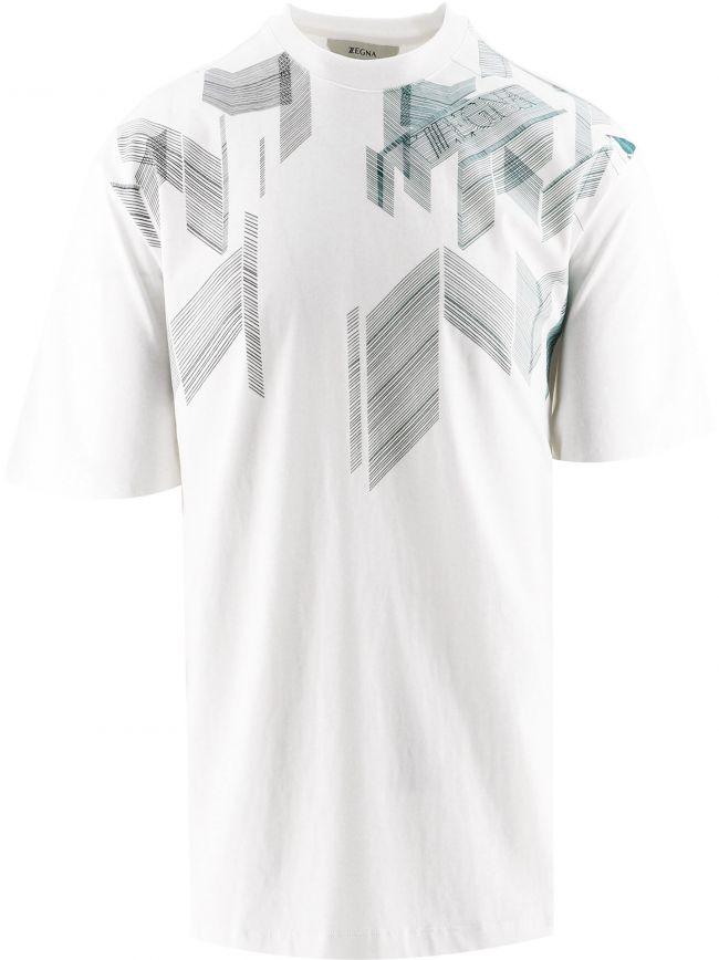 White Overlap Lines Print T-Shirt