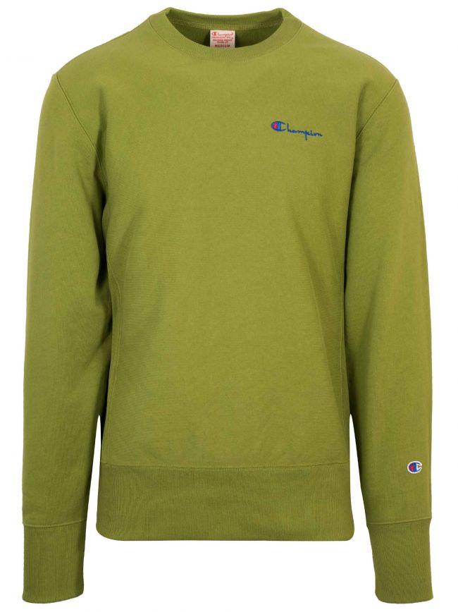 Reverse Weave Green Logo Sweatshirt