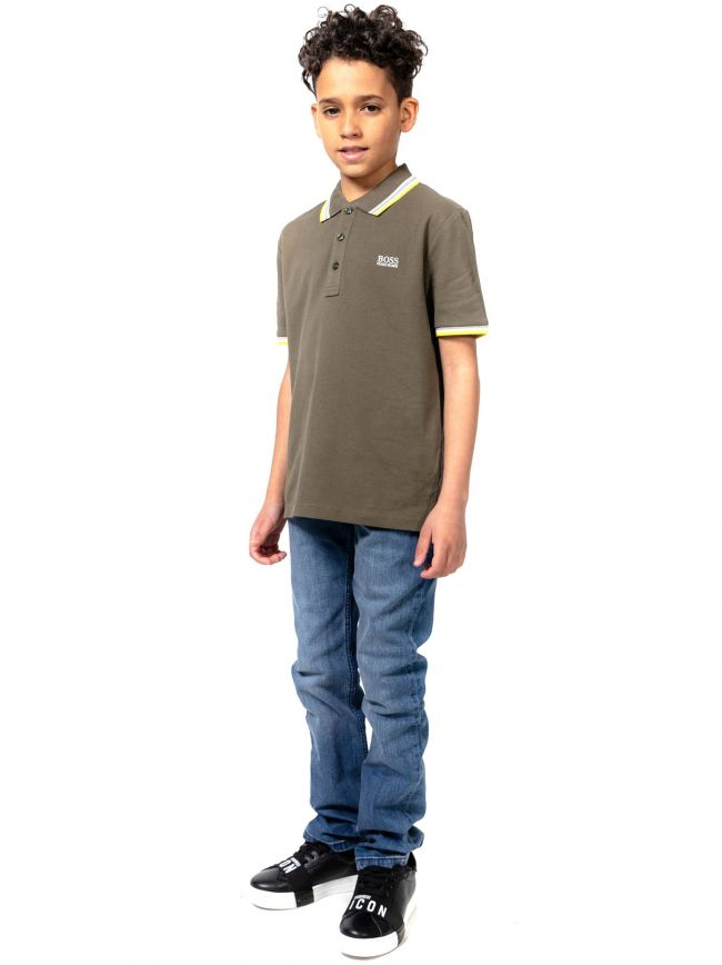 BOSS Kids Khaki Short Sleeve Polo Shirt