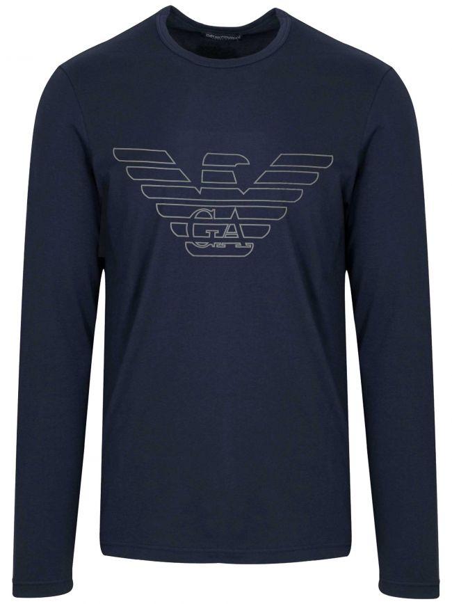Navy Eagle Logo Long-Sleeved T-Shirt