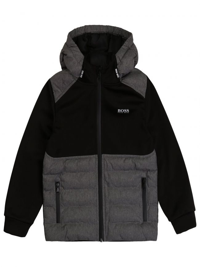 Black Quilted Hooded Zip Top