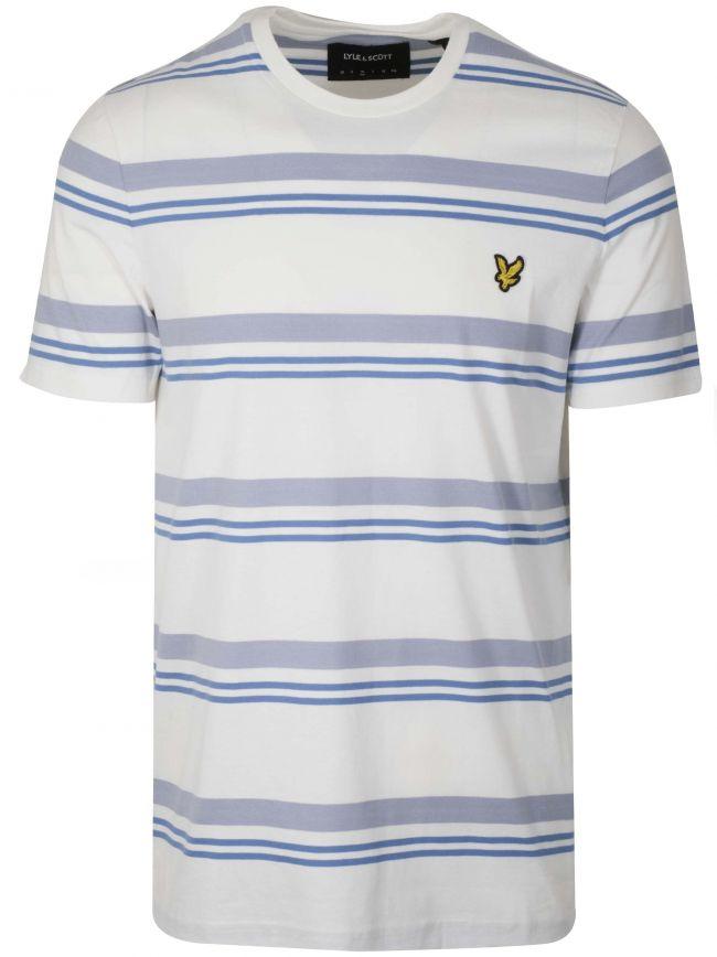 Cream & Blue Striped T-Shirt