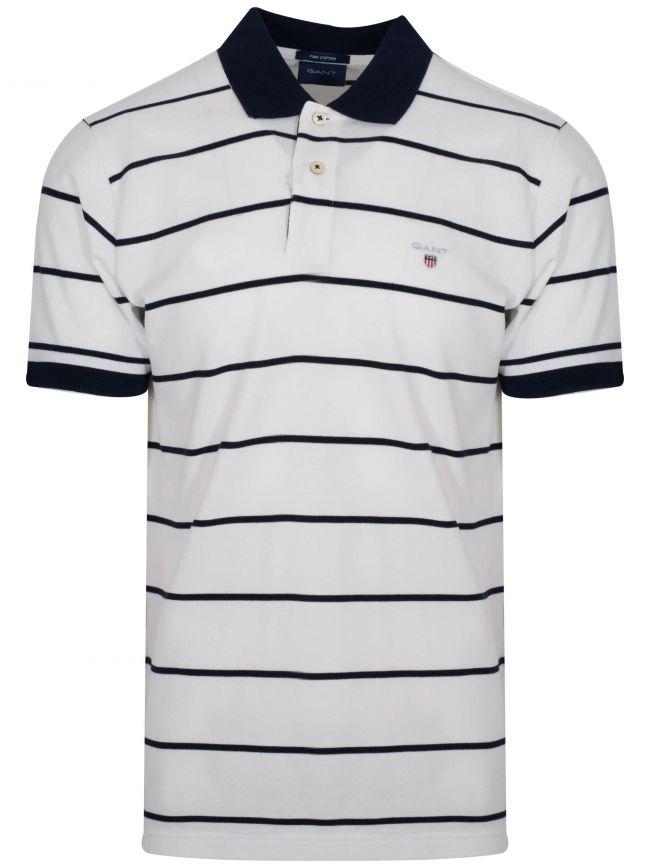 Eggshell White Striped Polo Shirt