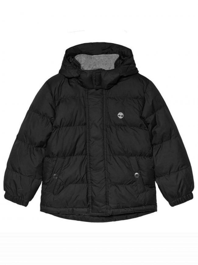 Black Hooded Bubble Jacket