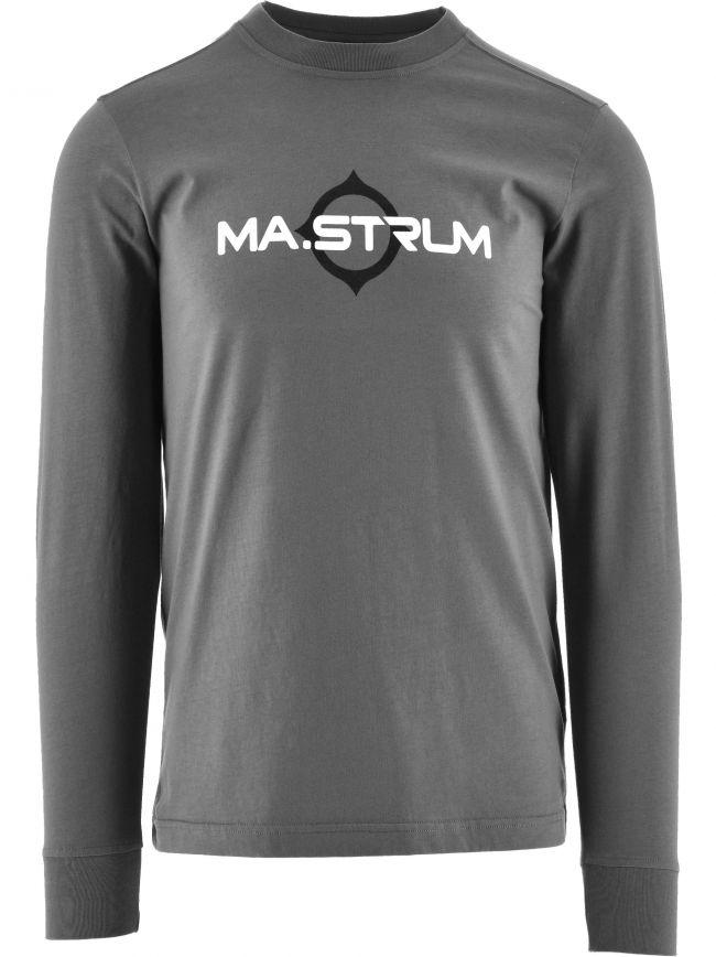 Grey Long Sleeve Logo Print T-Shirt