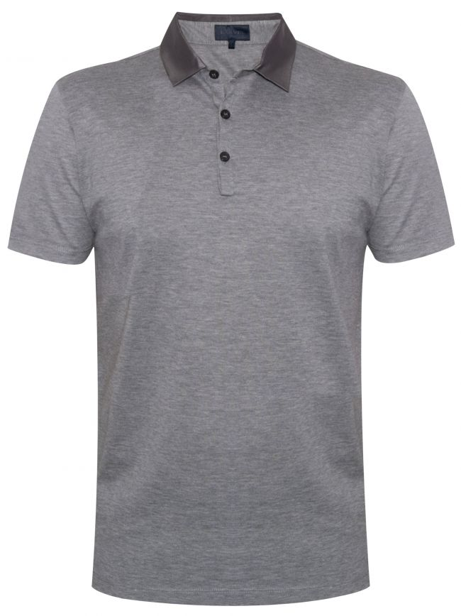 Grey Grosgrain Slim Fit Pique Polo Shirt