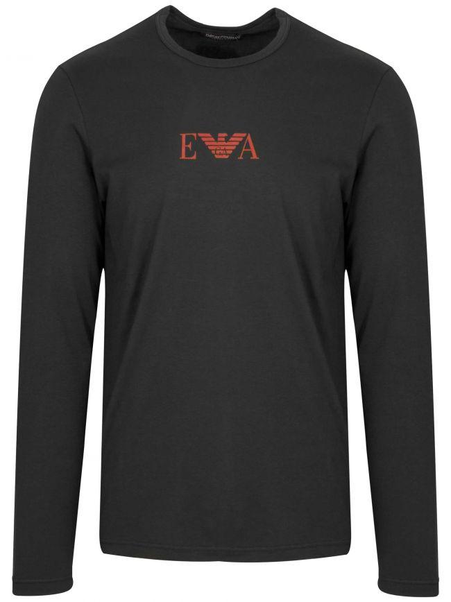 Black Chest Logo Long-Sleeved T-Shirt