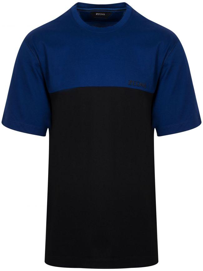 Royal Blue and Black Square Print Logo T-Shirt