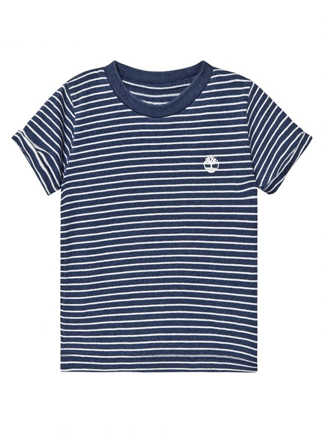 Striped Logo Navy T-Shirt