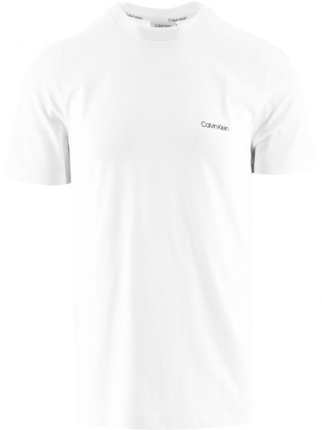 White Cotton Chest Logo T-Shirt