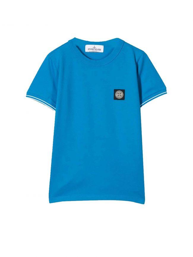 Aqua Blue Patch Logo Pique T-Shirt