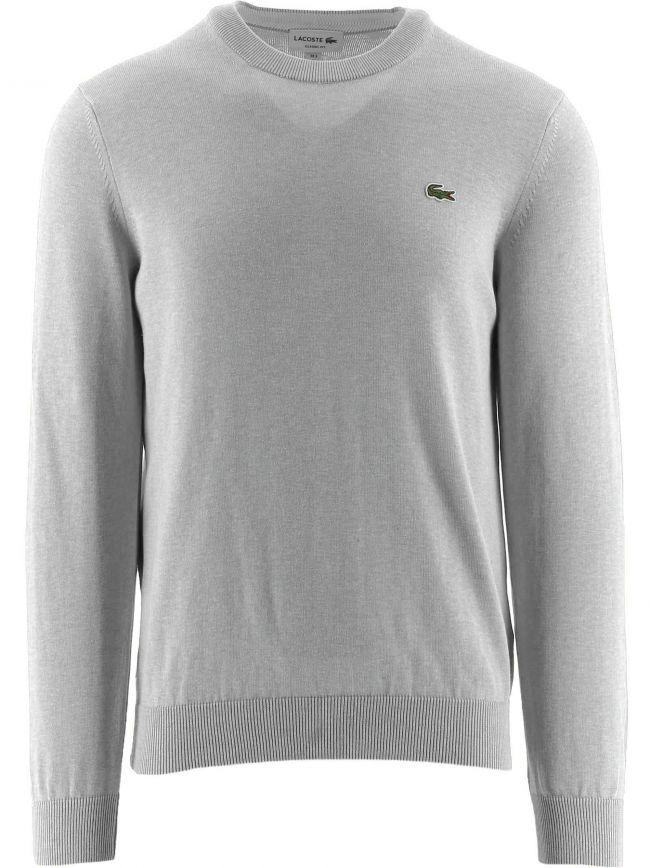 Grey Cotton Crew Neck Sweater