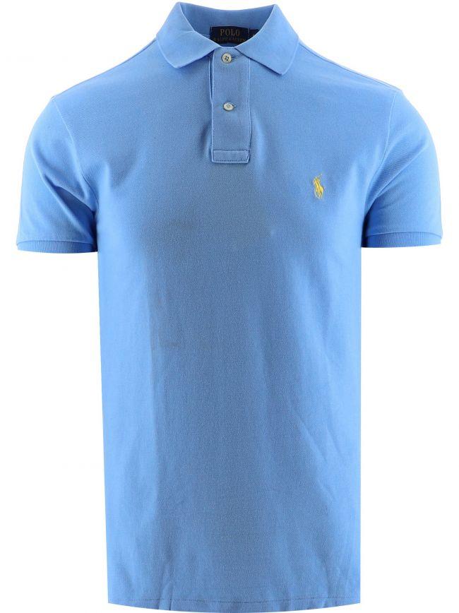 Blue Short-Sleeved Polo Shirt Custom Fit