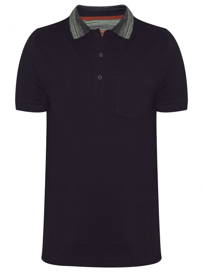 Purple Contrast Collar Polo Shirt