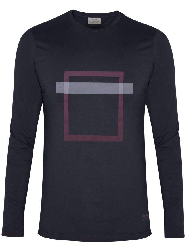 Navy Square Print T-Shirt