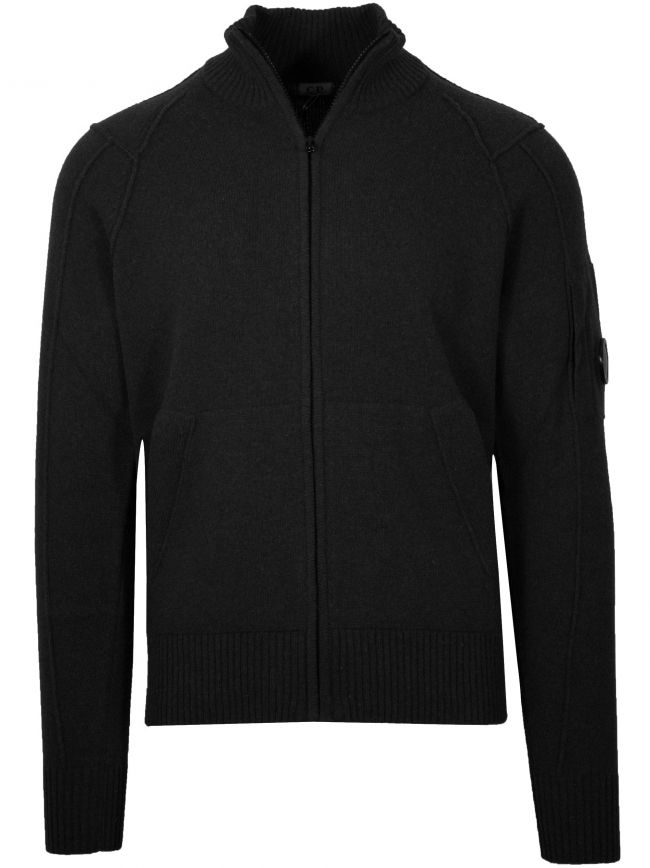 Black Zip Lens Knitwear Cardigan