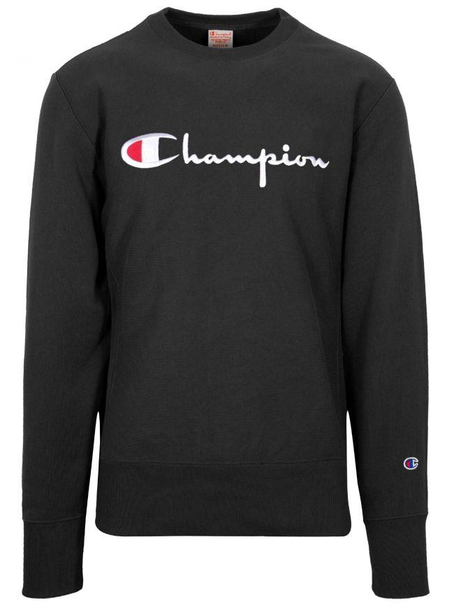 Reverse Weave Black Big Script Sweatshirt