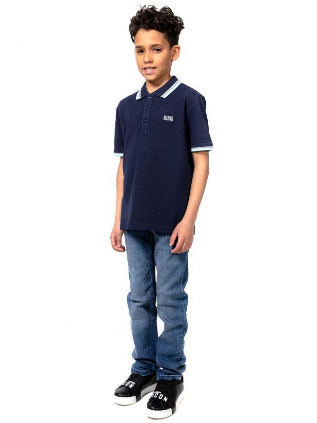 BOSS Kids Navy Logo Patch Polo Shirt