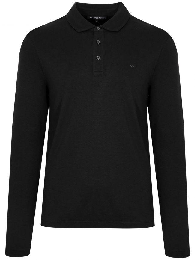 Black Long-Sleeve Polo Shirt