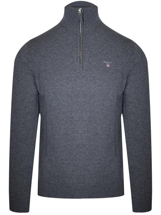 Super Fine Lambswool Half-Zip Grey Sweatshirt