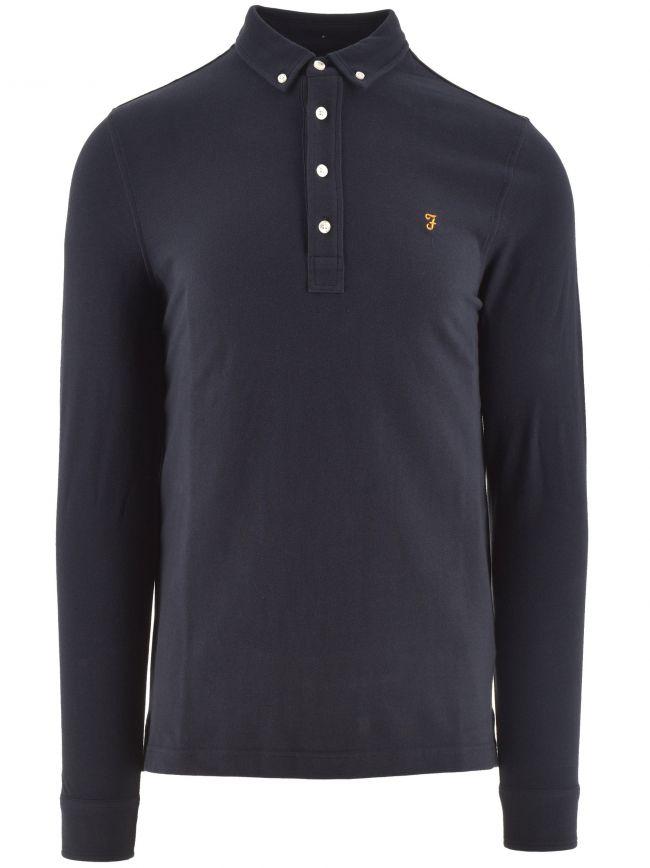 Navy Ricky Long Sleeved Polo Shirt