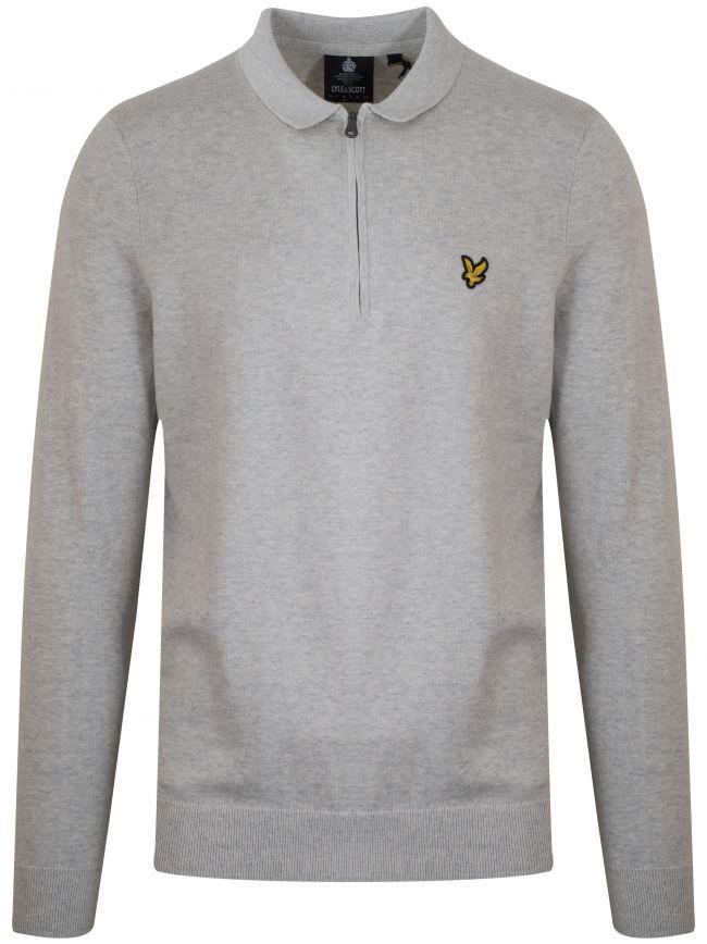 Light Grey Marl Half Zip Sweatshirt