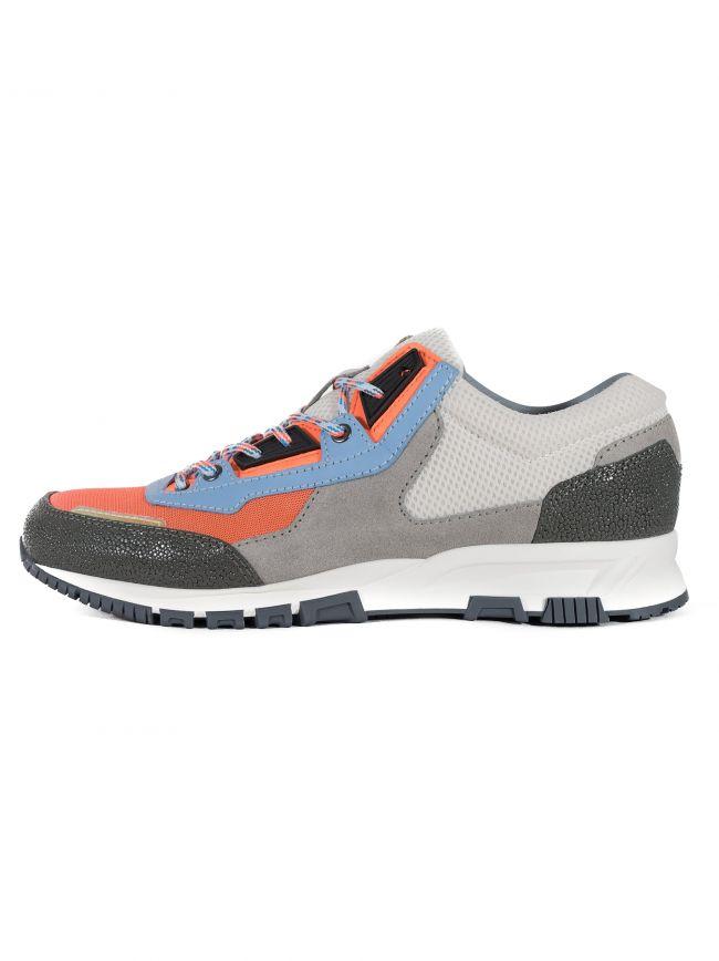 Neon Orange & Grey Suede, Leather & Mesh Runner