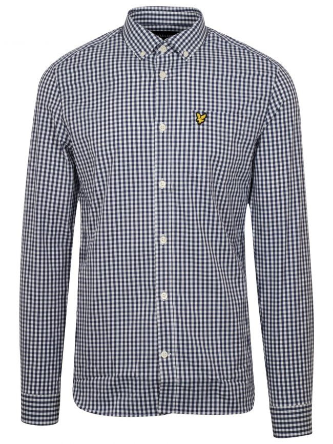 Navy & White Gingham Long-Sleeve Shirt