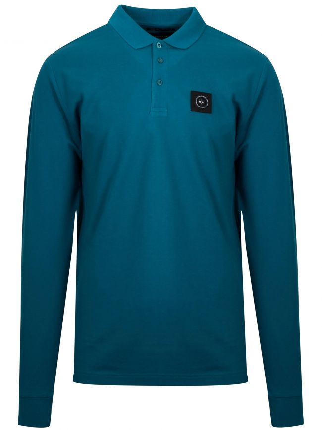 Teal Blue Long-Sleeved Siren Polo Shirt
