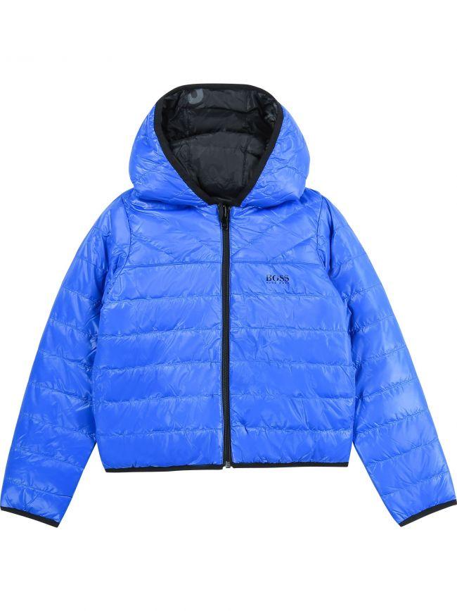 BOSS Kids Blue and Black Reversible Puffer Jacket