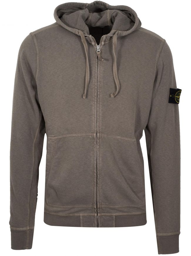 Light Khaki Zipped Hooded Sweatshirt