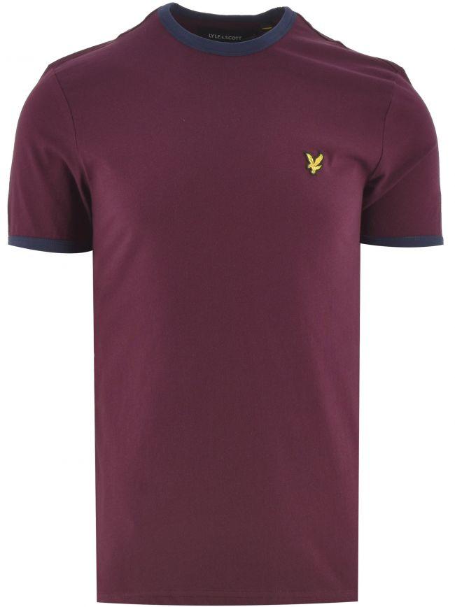 Burgundy & Navy Ringer T Shirt