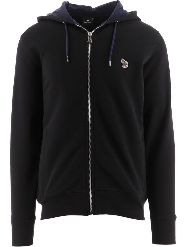Black Regular Fit Hooded Sweatshirt
