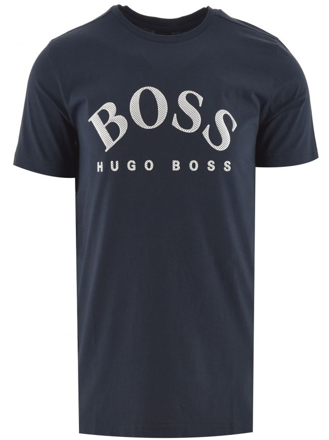 Navy Cotton Curved Logo T Shirt