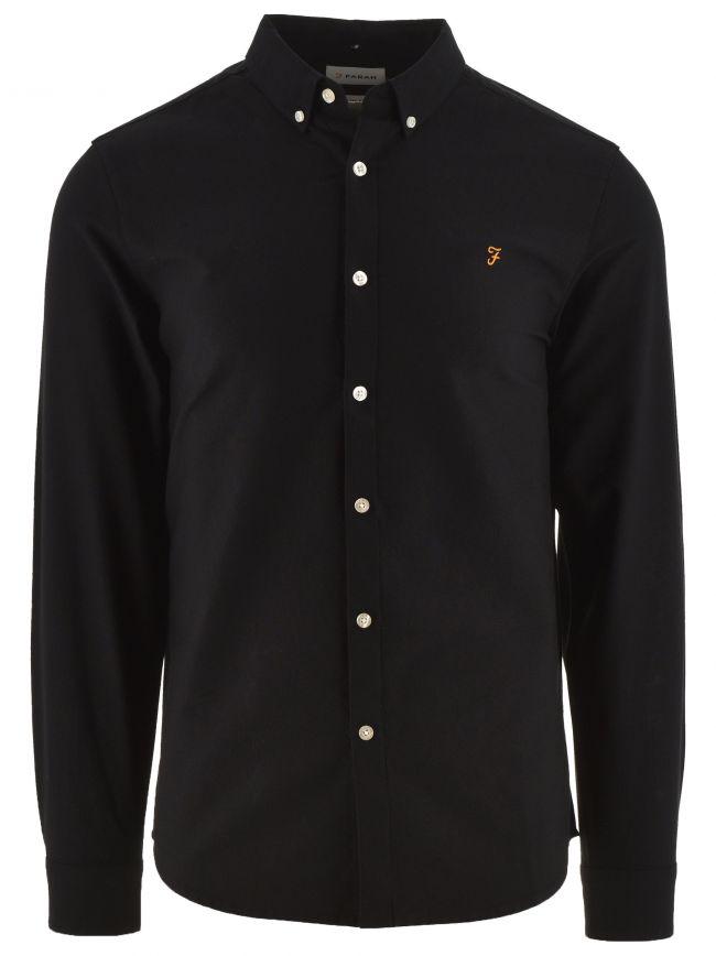 Black Brewer Slim Long Sleeved Oxford Shirt