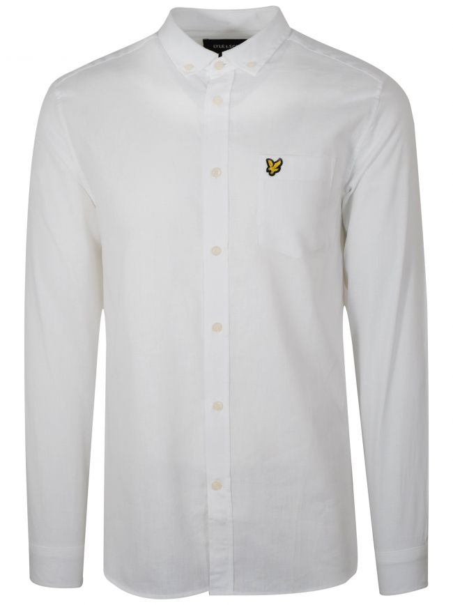 White Linen Long-Sleeve Shirt
