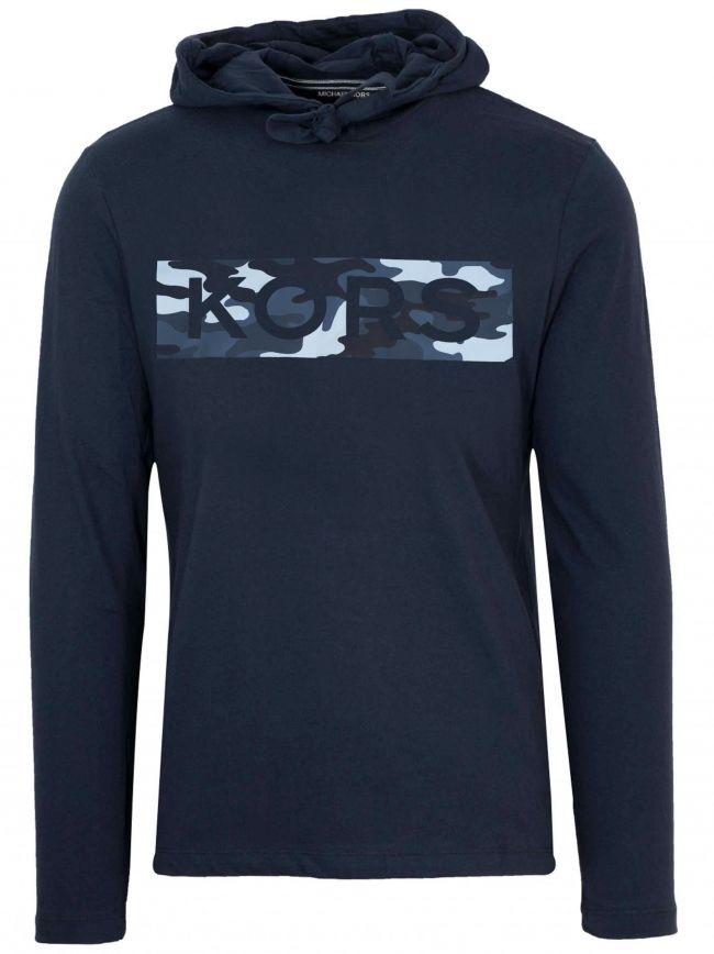 Navy Blue Camo Logo Hooded Sweatshirt