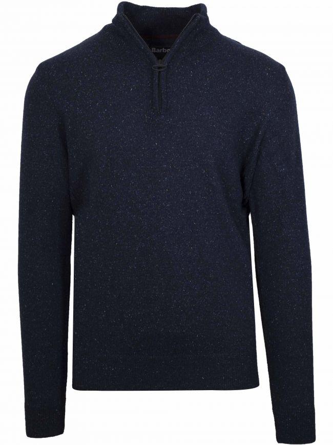 Tisbury Navy Wool Half Zip Sweatshirt