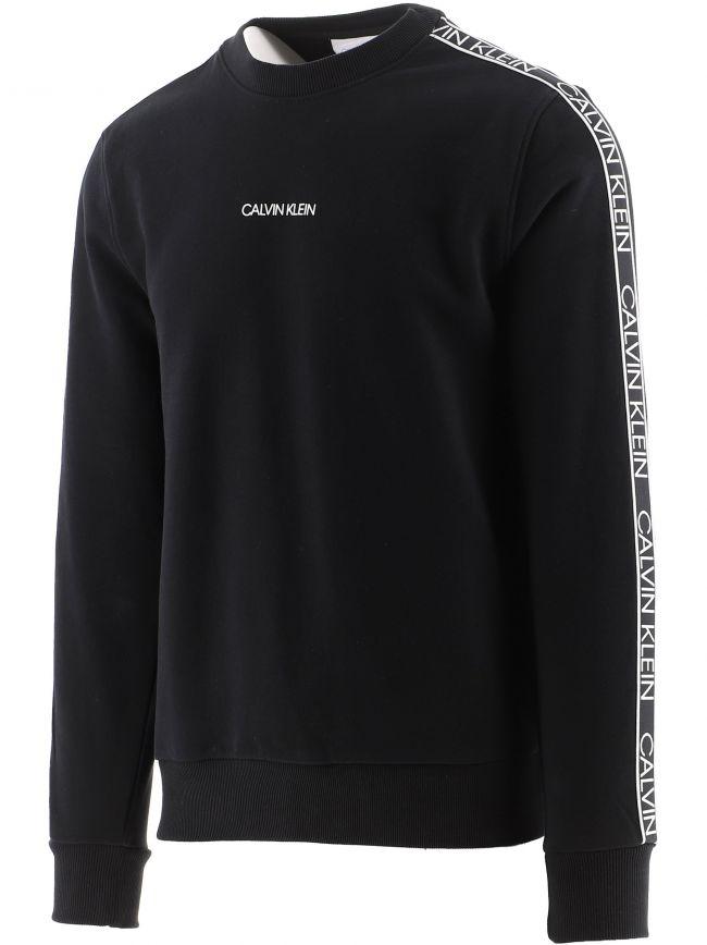 Black Organic Cotton Logo Tape Sweatshirt
