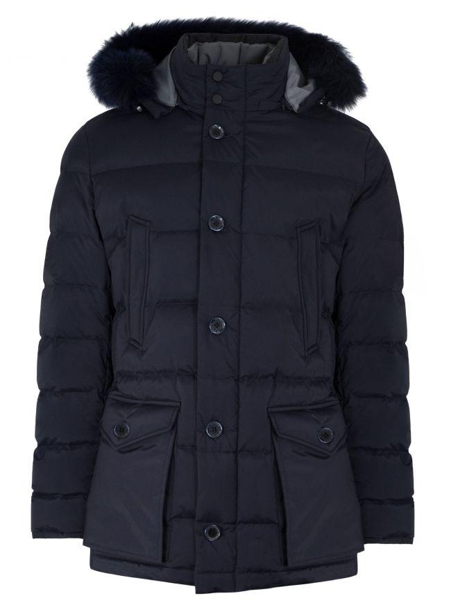 Navy Blue Down Filled Parka Jacket