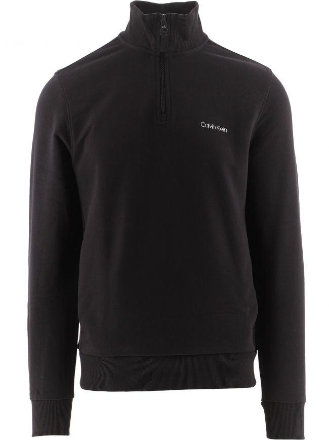 Black Chest Logo Quarter Zip Sweatshirt